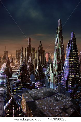 3d rendered fantasy alien city - 3D Computer Artwork