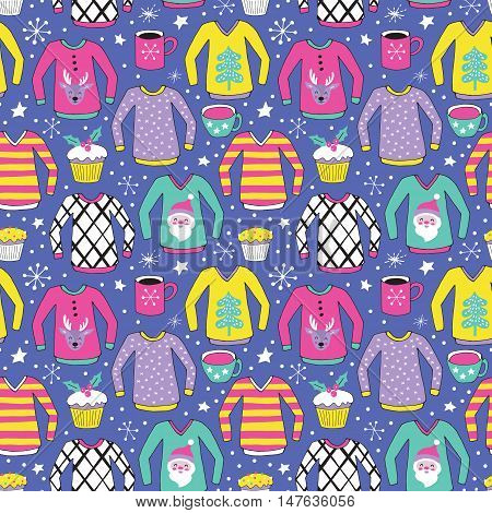 Christmas Ugly Sweater Seamless Pattern Design. Hand Drawing Vector Illustration