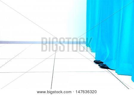Feet Behind Curtain
