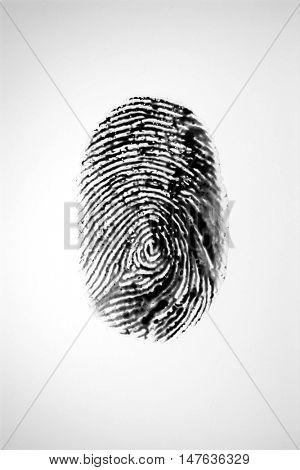 Fingerprint on blue background