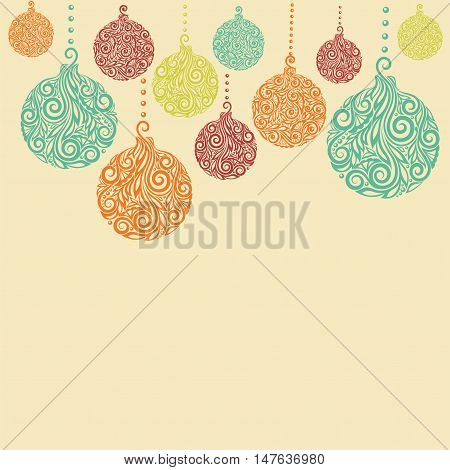 Christmas background with Christmas balls Hanging . Great for background greeting cards and invitations of the Christmas and New Year