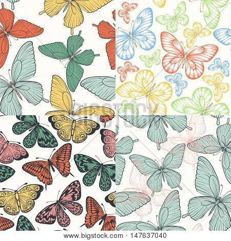 set of Beautiful seamless background with butterflies vintage color. Hand-drawn contour lines and strokes. Perfect for background greeting cards and invitations to the day of the wedding birthday