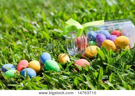 easter eggs lying on grass