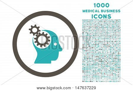 Intellect Gears rounded vector bicolor icon with 1000 medical business icons. Set style is flat pictograms, grey and cyan colors, white background.