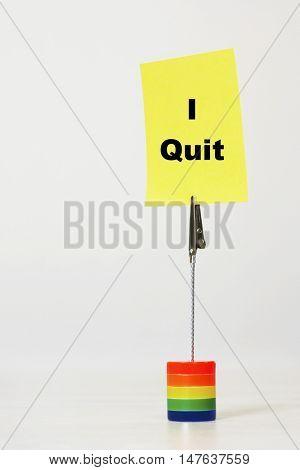 Reminder note saying i quit