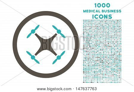 Quadcopter rounded vector bicolor icon with 1000 medical business icons. Set style is flat pictograms, grey and cyan colors, white background.