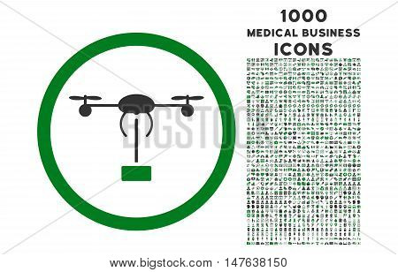 Copter Shipment rounded vector bicolor icon with 1000 medical business icons. Set style is flat pictograms, green and gray colors, white background.