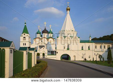 Temples of ancient Pechersky ascension monastery, on a summer evening. Nizhny Novgorod