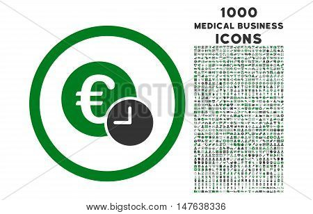 Euro Credit rounded vector bicolor icon with 1000 medical business icons. Set style is flat pictograms, green and gray colors, white background.