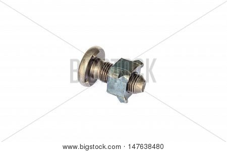 Special bolts and nut in industrial automotive part. Isolate background