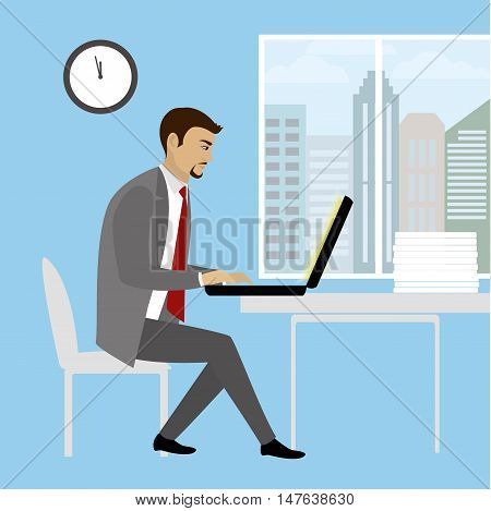 Office worker or businessman Working On laptop Computer.Cartoon vector illustration