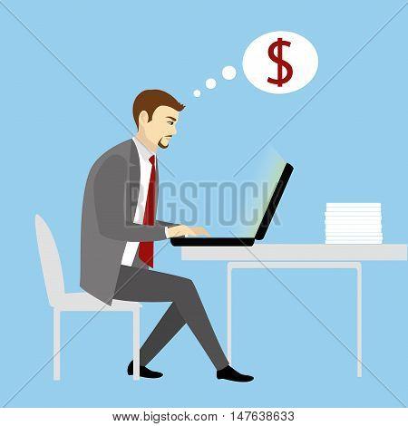 Man Working On laptop Computer.Businessman with finance idea.Cartoon vector illustration.