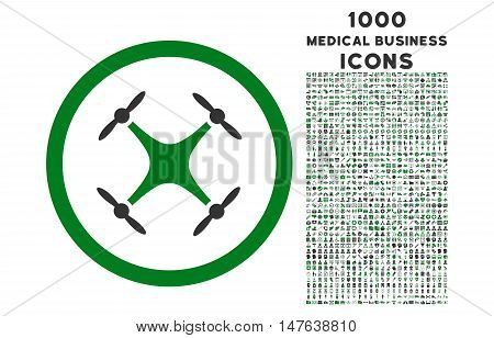 Quadcopter rounded vector bicolor icon with 1000 medical business icons. Set style is flat pictograms, green and gray colors, white background.