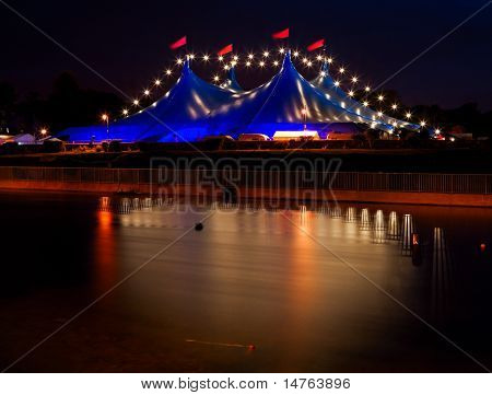 Circus Style Tent With Lights At Night