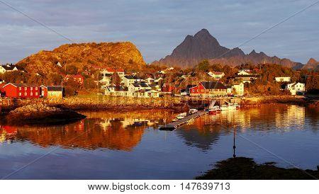 Village Kabelvagen in the morning golden light of the rising sun. Lofoten, Norway