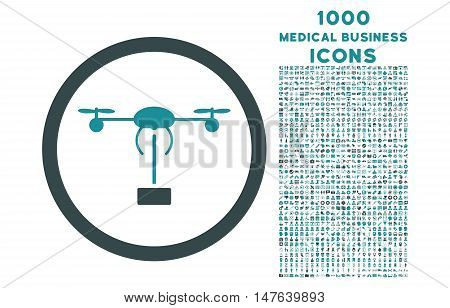 Copter Shipment rounded vector bicolor icon with 1000 medical business icons. Set style is flat pictograms, soft blue colors, white background.