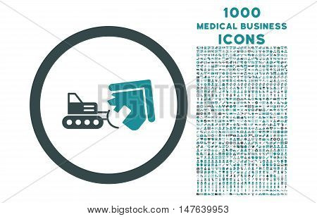 Demolition rounded vector bicolor icon with 1000 medical business icons. Set style is flat pictograms, soft blue colors, white background.