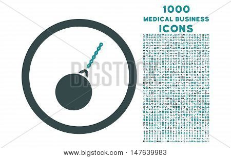 Destruction Hammer rounded vector bicolor icon with 1000 medical business icons. Set style is flat pictograms, soft blue colors, white background.