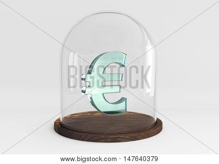 3D euro sign crystal protected under a glass dome isolated on white background