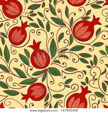 Pomegranate seamless pattern. Floral vector reapet background. Floral pattern with decorative pomegranate fruits and leaves.
