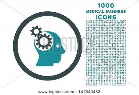 Intellect Gears rounded vector bicolor icon with 1000 medical business icons. Set style is flat pictograms, soft blue colors, white background.