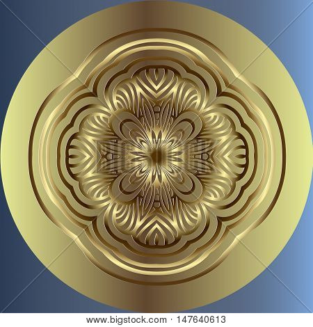 Embossed on an abstract decor, gold medallion pattern semmitrichno interlaced lines in a circle of light green color