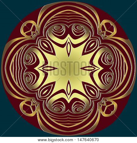 Abstract embossed decoration, gold pattern symmetrically interlaced lines in a circle claret color