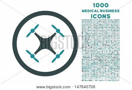 Quadcopter rounded vector bicolor icon with 1000 medical business icons. Set style is flat pictograms, soft blue colors, white background.