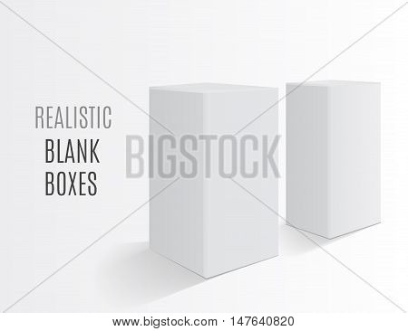 Boxes on a white background. Realistic white mockup. Matted cardboard boxes. White cardboard product blank. Realistic objects ready for your design. Vector illustration eps 10
