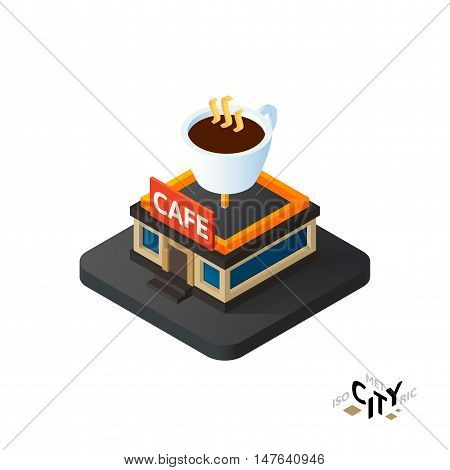 Isometric coffeehouse cafe flat icon isolated on white background, building city infographic element, digital low poly graphic, vector illustration