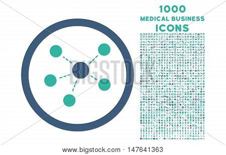 Connections rounded vector bicolor icon with 1000 medical business icons. Set style is flat pictograms, cobalt and cyan colors, white background.