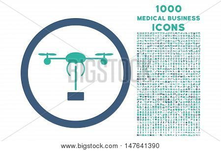 Copter Shipment rounded vector bicolor icon with 1000 medical business icons. Set style is flat pictograms, cobalt and cyan colors, white background.