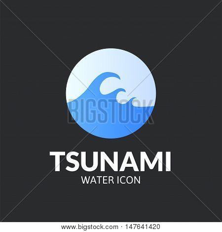 Tsunami logo, vector template design water icon
