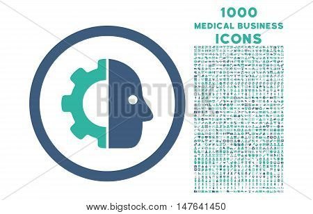Cyborg rounded vector bicolor icon with 1000 medical business icons. Set style is flat pictograms, cobalt and cyan colors, white background.