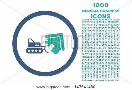 Demolition rounded vector bicolor icon with 1000 medical business icons. Set style is flat pictograms, cobalt and cyan colors, white background.