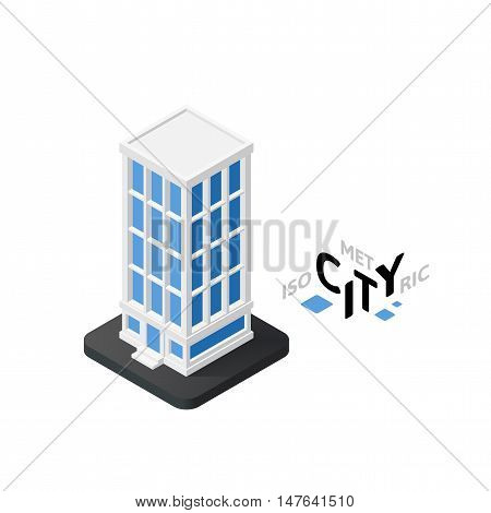 Isometric skyscraper flat icon isolated on white background, building city infographic element, digital low poly graphic, vector illustration