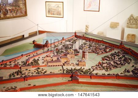 MOSCOW, RUSSIA - FEB 7, 2016: Miniature of old Kremlin in Museum of Moscow