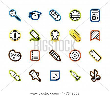 Outline icons thin flat design, modern line stroke style, web and mobile design element, objects and vector illustration icons set 2 - education collection