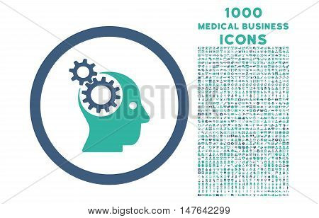 Intellect Gears rounded vector bicolor icon with 1000 medical business icons. Set style is flat pictograms, cobalt and cyan colors, white background.