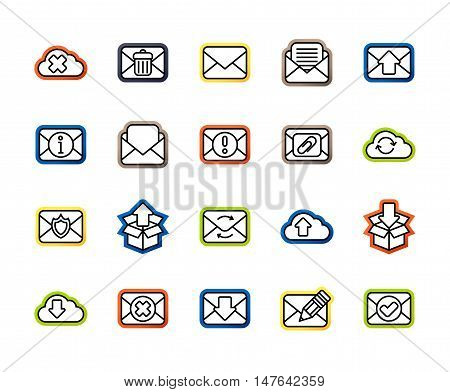 Outline icons thin flat design, modern line stroke style, web and mobile design element, objects and vector illustration icons set 7 - mail and cloud collection