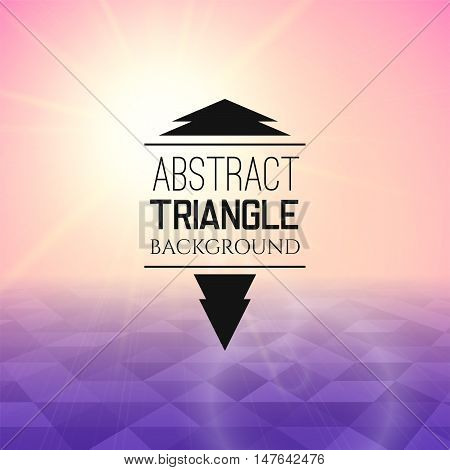Abstract pink sunset with purple triangle field, perspetive pattern in sunny fog, geometrical vibrant multicolored vector background illustration
