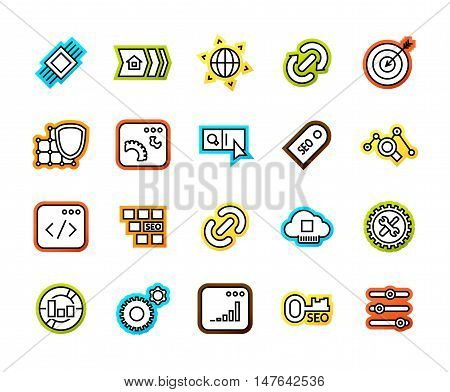 Outline icons thin flat design, modern line stroke style, web and mobile design element, objects and vector illustration iconsset 22 - SEO and Development collection