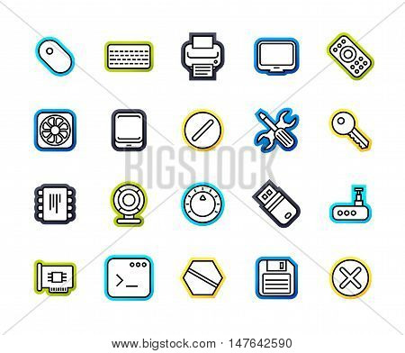 Outline icons thin flat design, modern line stroke style, web and mobile design element, objects and vector illustration icons set 13 - computer collection