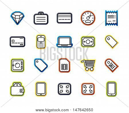 Outline icons thin flat design, modern line stroke style, web and mobile design element, objects and vector illustration icons set 9 - shopping and finance collection