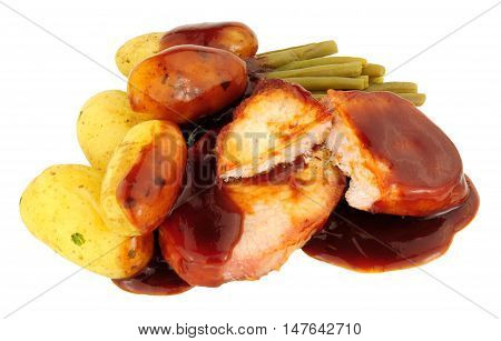 Bacon medallion and boiled potato meal with bourbon sauce isolated on a white background
