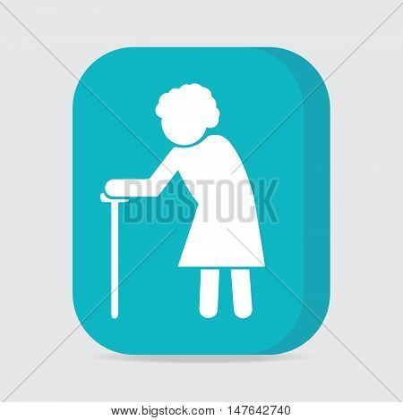 Elderly woman symbol. old people icon button vector illustration