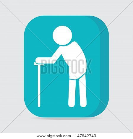 Elderly symbol. old people icon button vector illustration