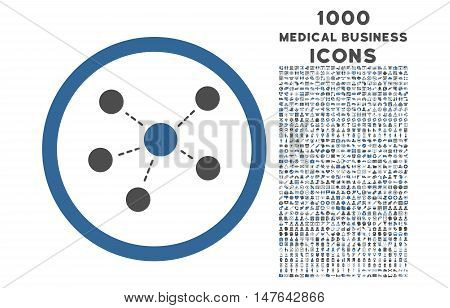 Connections rounded vector bicolor icon with 1000 medical business icons. Set style is flat pictograms, cobalt and gray colors, white background.