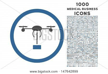 Copter Shipment rounded vector bicolor icon with 1000 medical business icons. Set style is flat pictograms, cobalt and gray colors, white background.