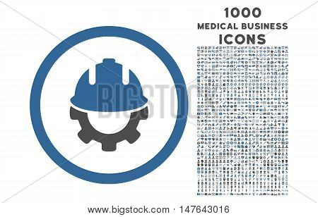 Development rounded vector bicolor icon with 1000 medical business icons. Set style is flat pictograms, cobalt and gray colors, white background.